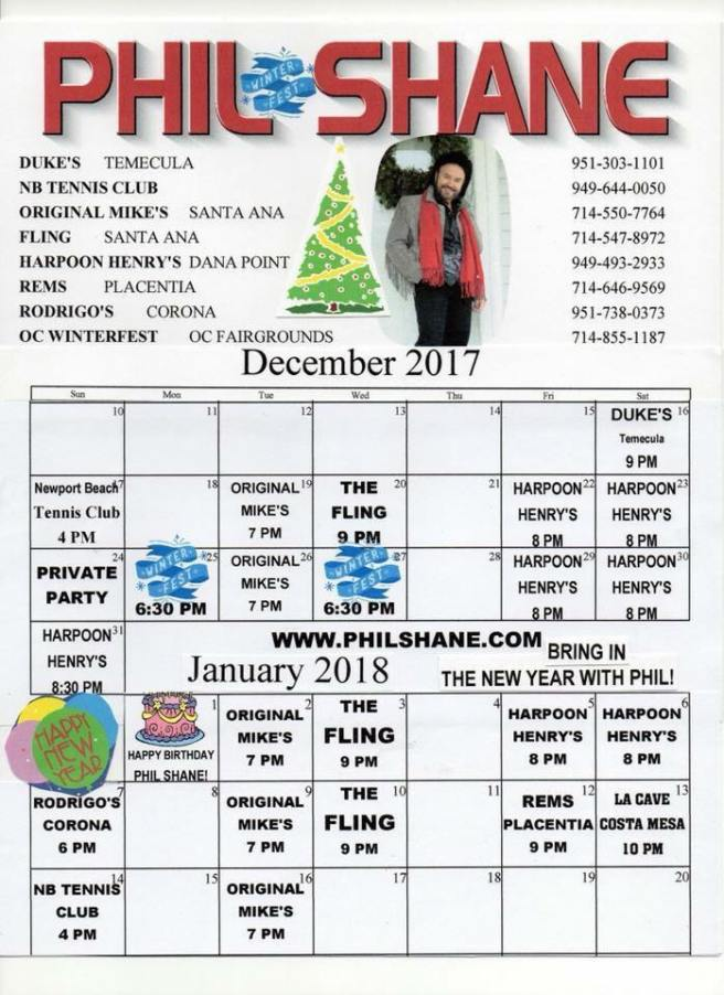 Phil Shane December 2017 Schedule