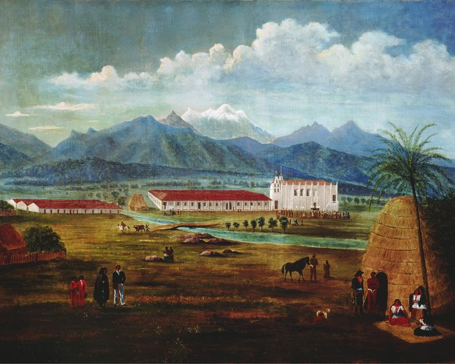 Ferdinand-Deppe_-San-Gabriel-Mission_-Oil-on-canvas_-c.-1832 Courtesy of LagunaArtMuseum.org