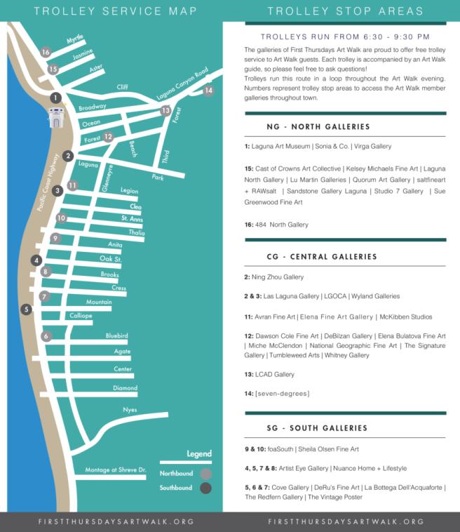 Laguna Beach First Thursdays Art Walk Shuttle Map 2018