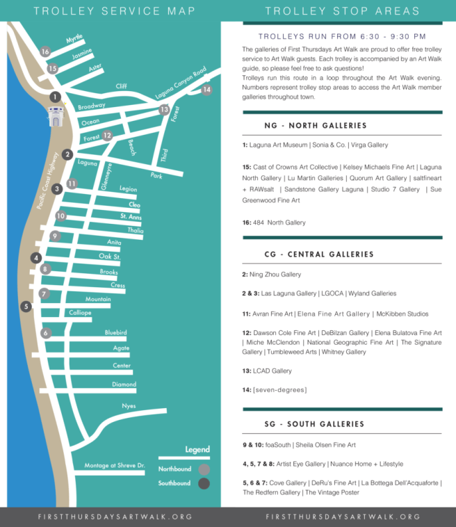 Laguna Beach First Thursdays Art Walk Shuttle Map 2018