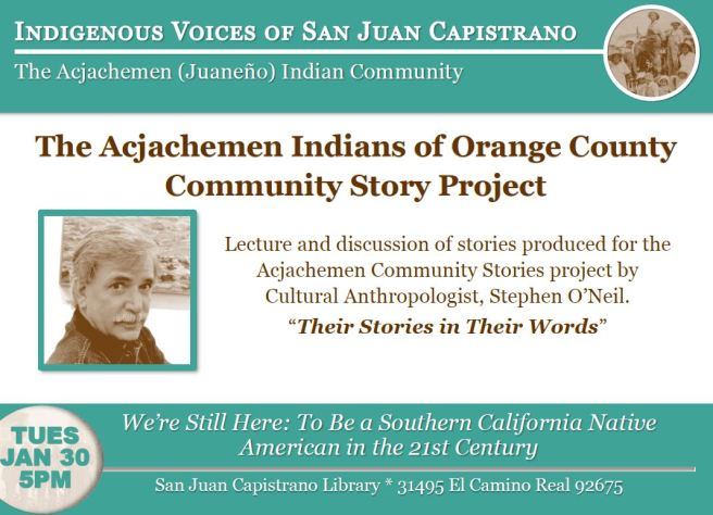 San Juan Capistrano Library Acjachement Indians Janaury 30 2018