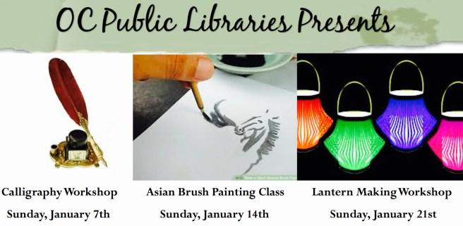 Dana Point Library Sunday Art Workshops January 2018
