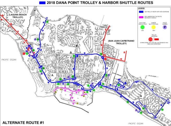 Dana Point Trolley Summer 2018 Route Modifications Alternative 1