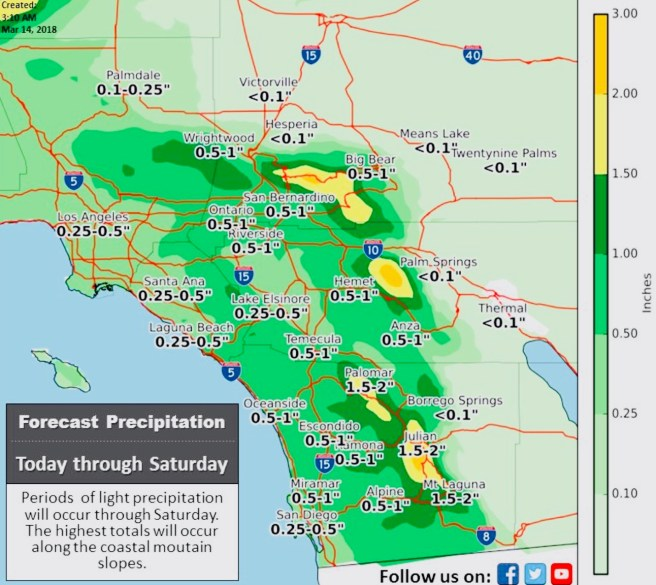 Southern California Weather March 14 2018 thru March 17 2018 Courtesy of NWS