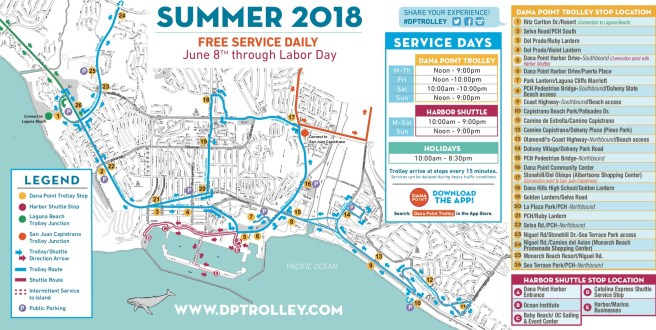 Dana Point Trolley Map and Stops Summer 2018