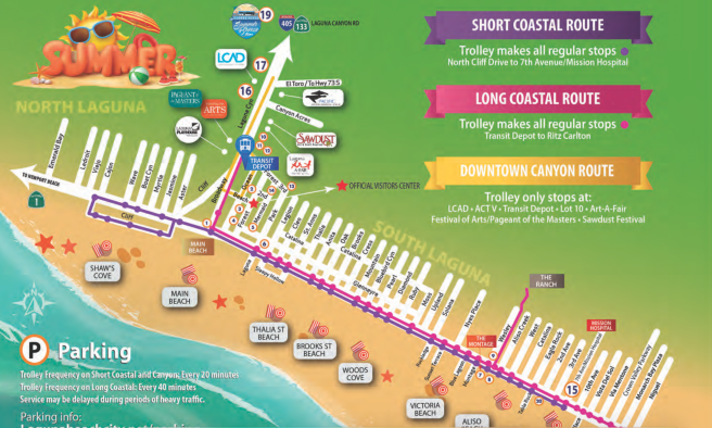 Laguna Beach Summer 2018 Trolley Routes Map: Short & Long Coastal and Downtown Canyon