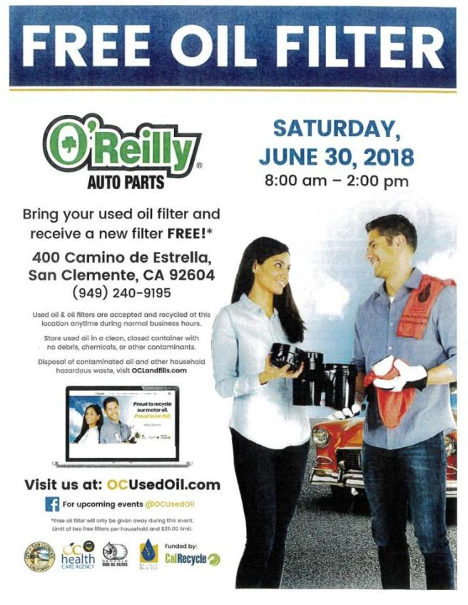 San Clemente Free Oil Filter Day June 30 2018