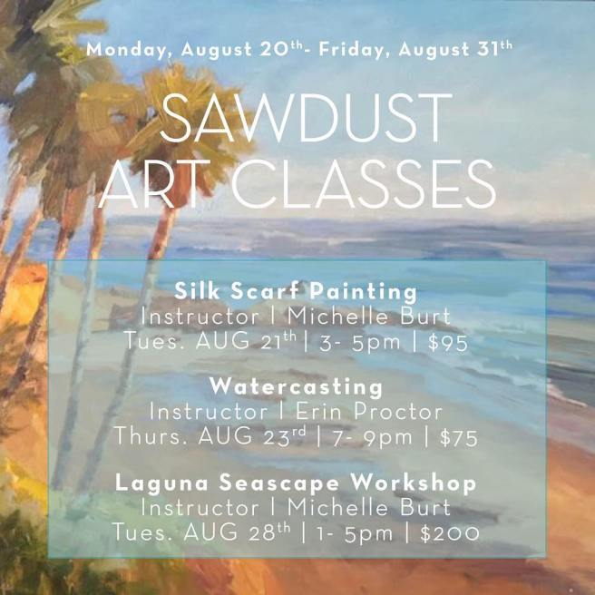 Laguna Beach Sawdust Art Classes Monday August 20 2018 thru Tuesday Augusst 28 2018