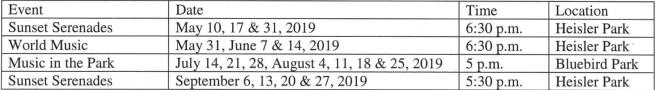 Laguna Beach 2019 Concerts in the Park Schedule