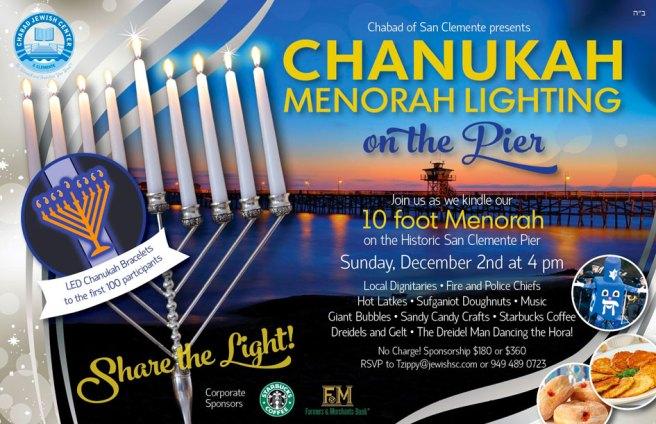 Chanukah Menorah Lighting at San Clemente Pier Sunday December 2 2018