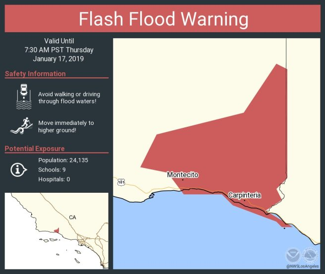 Flash Flood Warning January 17 2019 Carpinteria and Montecito