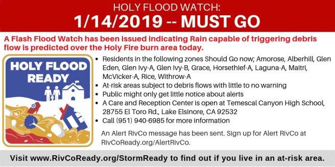 Holy Fire Flash Flood Watch Mandatory Evacuations Janaury 14 2019
