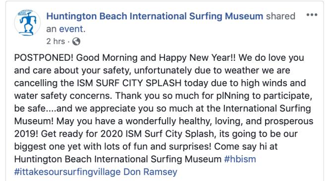 Huntington Beach Surf City Splash January 1 2019 Postponed Due to Weather