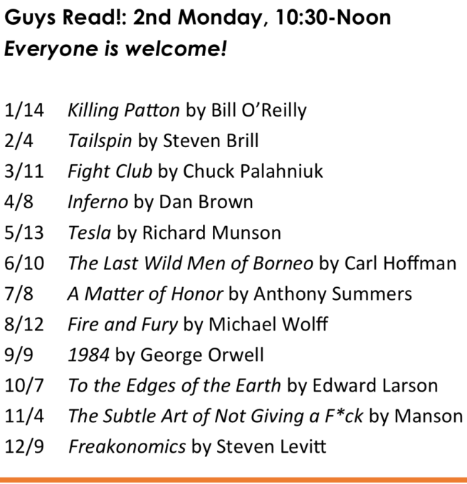 Dana Point Guys Read! Book Club 2019 Schedule