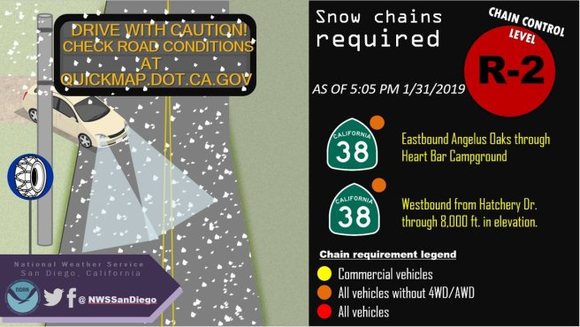 Hwy 38 Chains Required February 2019