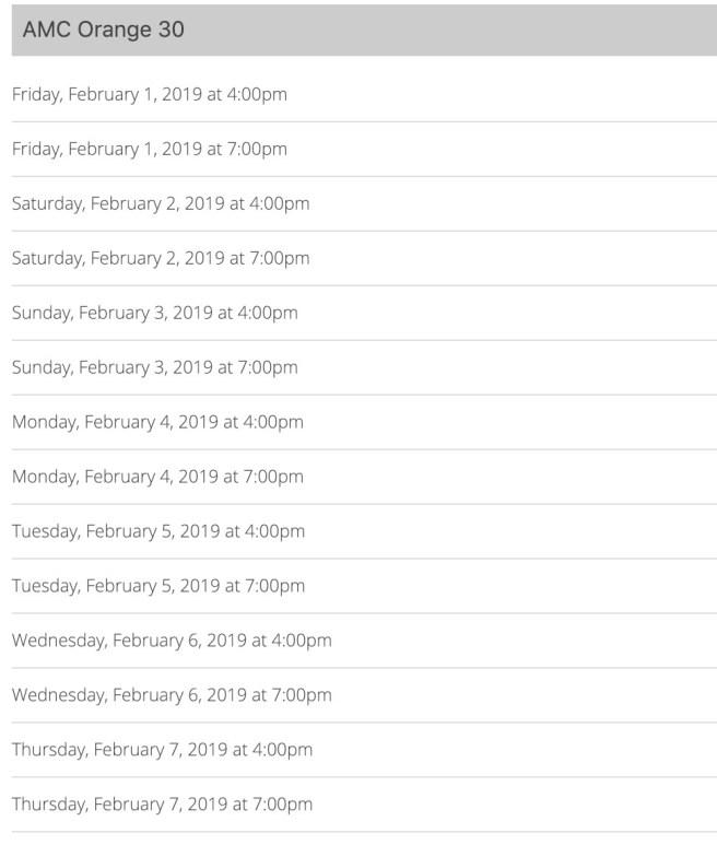 Black Panther AMC Orange Free Showings February 2019