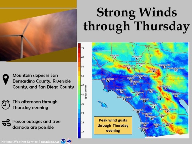 Southern California Strong Winds Wednesday February 13 2019