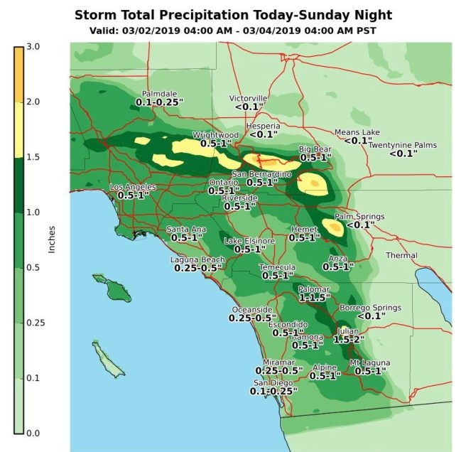 Southern California Rain Totals March 2-March 3 2019
