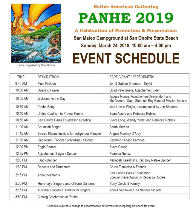 San Onofre Panhe Celebration March 24 2019 Event Schedule