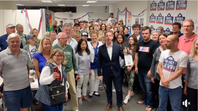 Mike Levin on Election Day 2018 in San Clemente Courtesy of Mike Levin Facebook Page