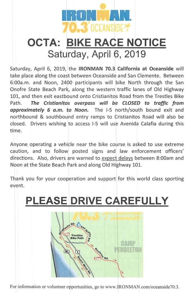 San Clemente Ironman April 6 2019
