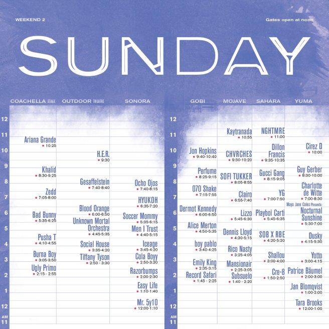 Coachella 2019 Weekend Two Sunday April 21 2019 Set Times