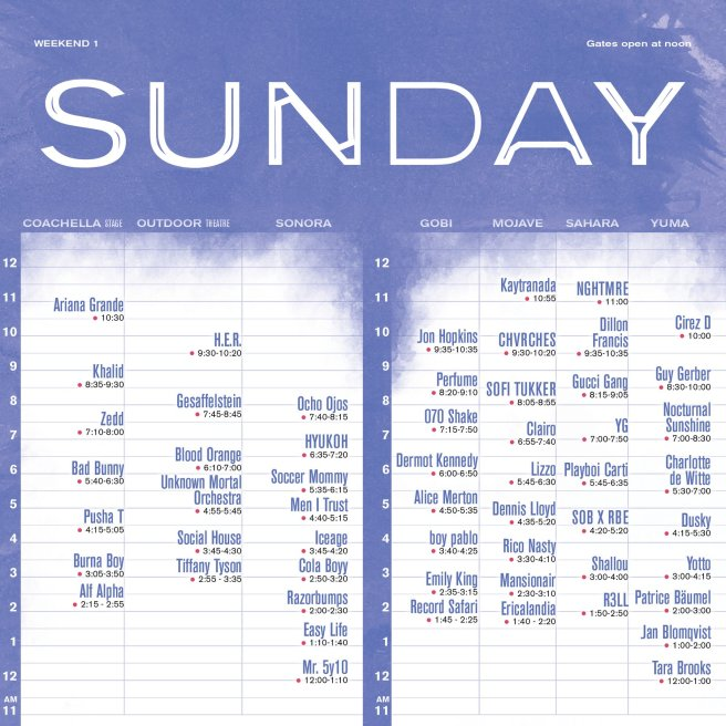 Coachella Sunday Set Times April 14 2019