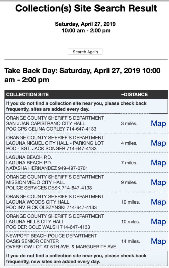 Take Back Day April 27 2019 Orange County Locations