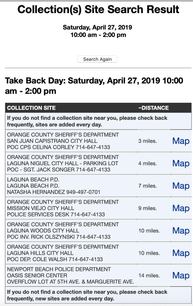 Take Back Day April 27 2019 Orange County Locations