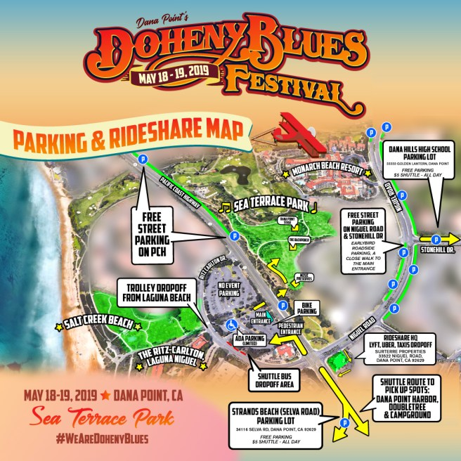 Doheny Blues Festival 2019 Parking and Rideshare Map