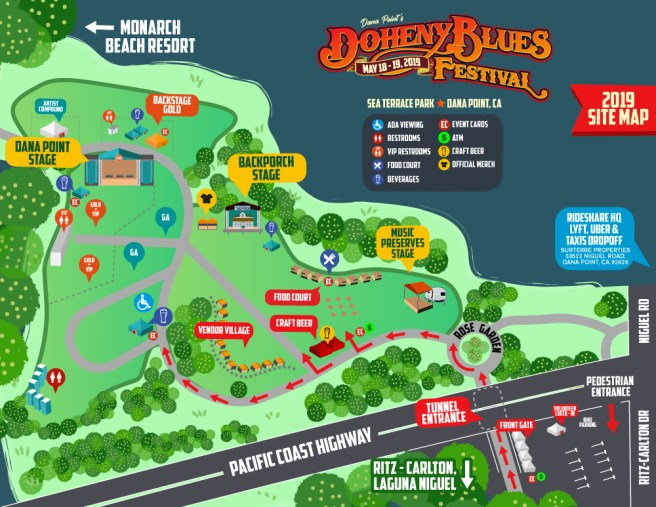 Doheny Blues Festival May 2019 Map