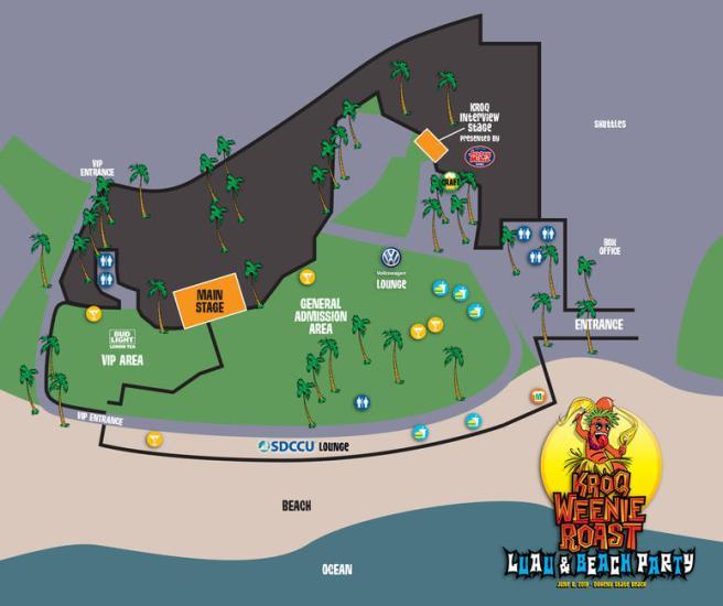 KROQ Weenie Roast June 8 2019 at Doheny State Beach Festival Map