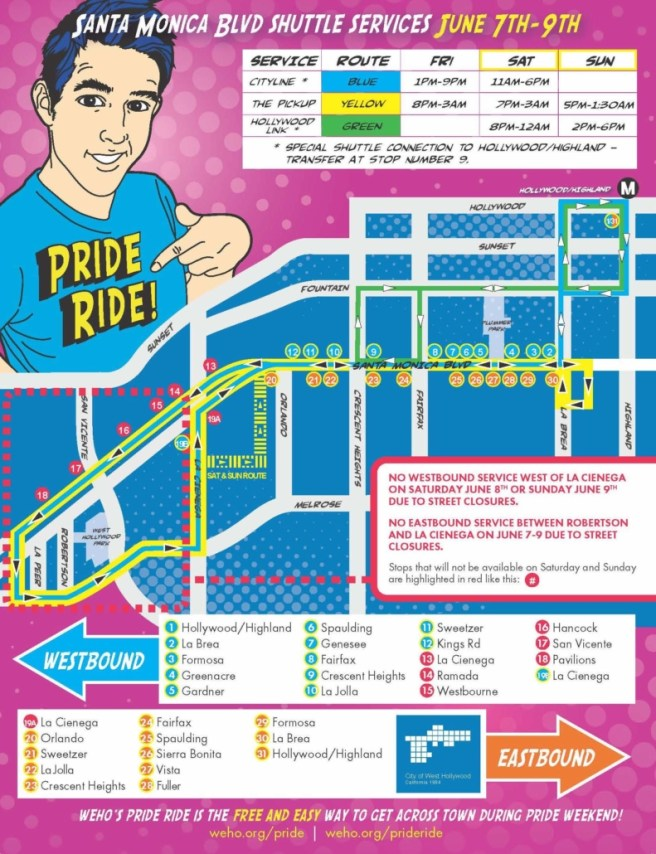 LA Pride Festival 2019 Shuttle Map