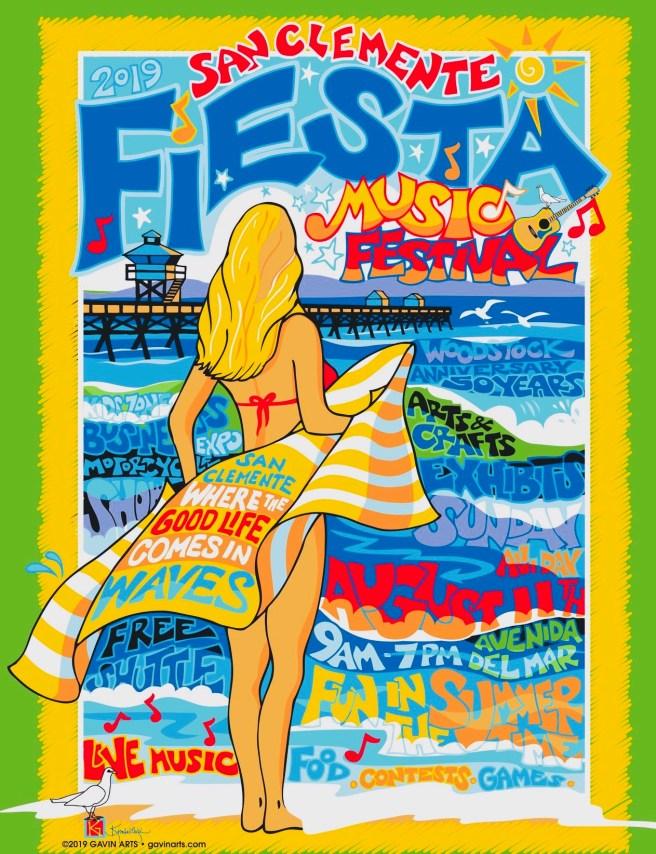 San Clemente Fiesta Music Festival Sunday August 11 2019 Logo by ''Design by Kimberleigh Gavin, Gavin Arts'' (C)