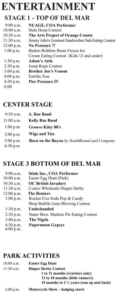San Clemente Fiesta Music Festival Sunday August 11 2019 Music Lineup/Schedule