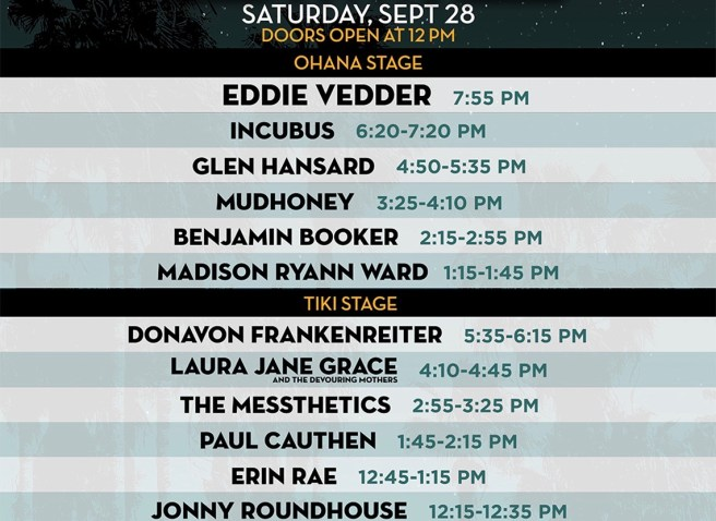 Dana Point Ohana Fest Saturday September 28 2019 Lineup