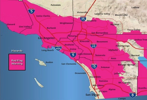 Southern California Red Flag Warning Wednesday October 30 2019 Courtesy of NWS