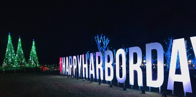 Dana Point Harbor Holiday Lights Sign Courtesy of SouthOCBeaches.com