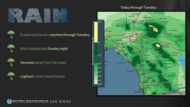 Southern California Weather Map Sunday Feburary 9 2020 Courtesy of NWS