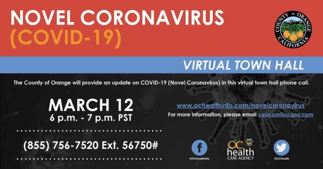 County of Orange California CoronaVirus (COVID19) Virtual Town Hall March 12 2020