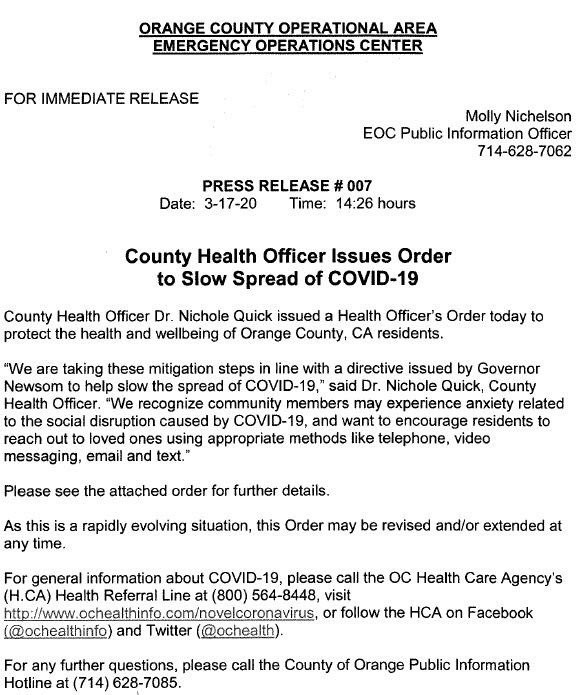 Orange County California Issues Order to Slow Spread of COVID-19 on March 17 2020