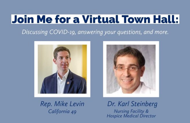 Congressman Mike Levin COVID19 Virtual Town Hall July 30 2020