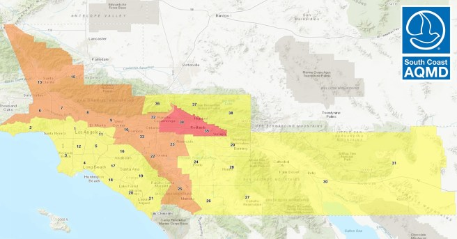 South Coast AQMD Air Quality Map For Sunday September 27 2020