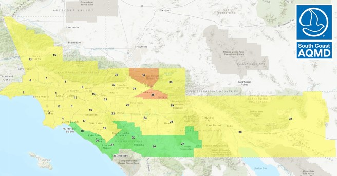 South Coast AQMD Air Quality Map For Tuesday September 22 2020