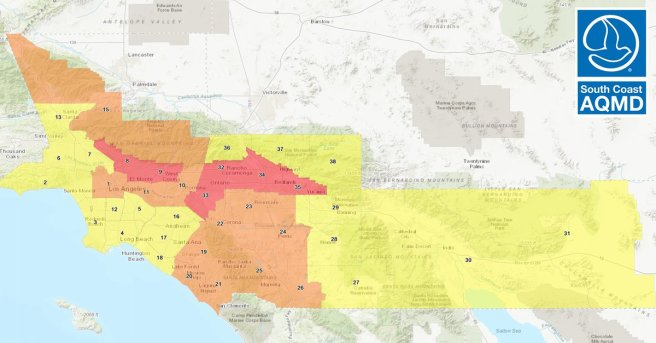 South Coast AQMD Air Quality Map For September 30 2020