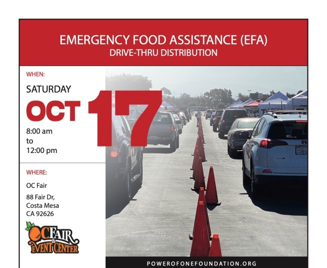 OC Fairgrounds Emergency Food Assistance Saturday October 17 2020
