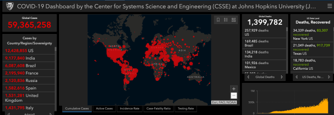 COVID 19 Status World Report Updated on November 23 2020 Courtesy of John Hopkins University