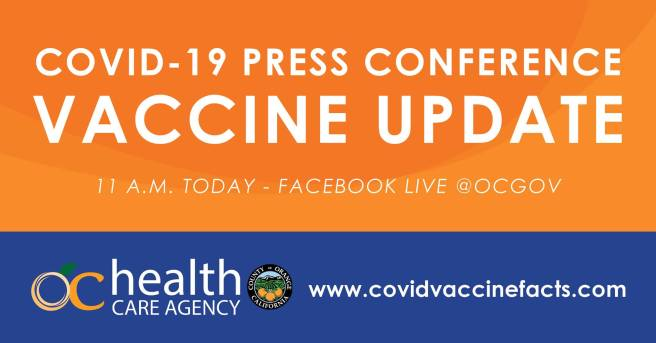 Orange County California COVID-19 Facebook Live Press Conference on Vaccine Update Wednesday December 16 2020