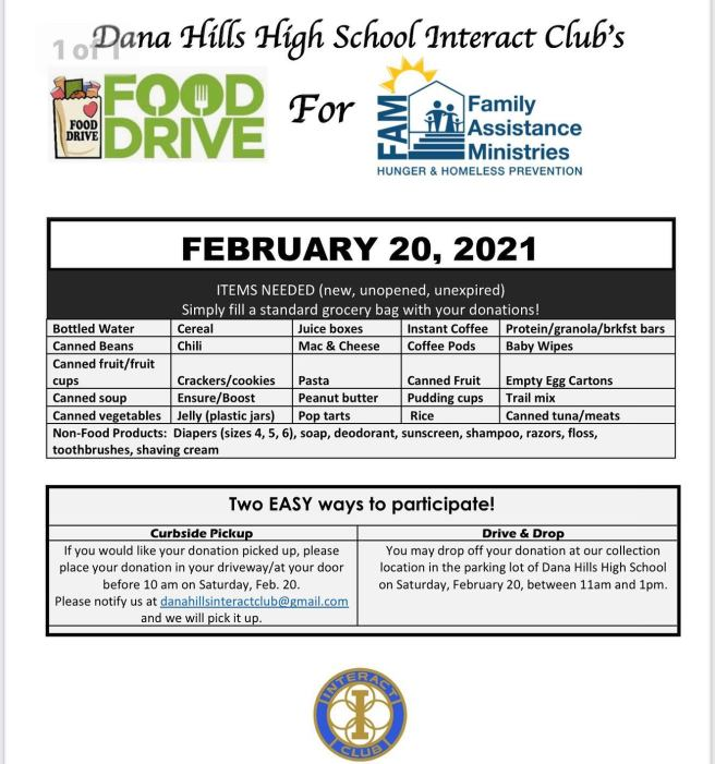 Dana Hills High School Family Assistance Ministries (FAM) Food Drive February 20 2021