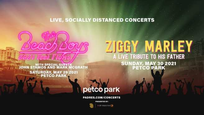 San Diego Padre Memorial Day May 2021 Concerts Featuring The Beach Boys and ZIggy Marley